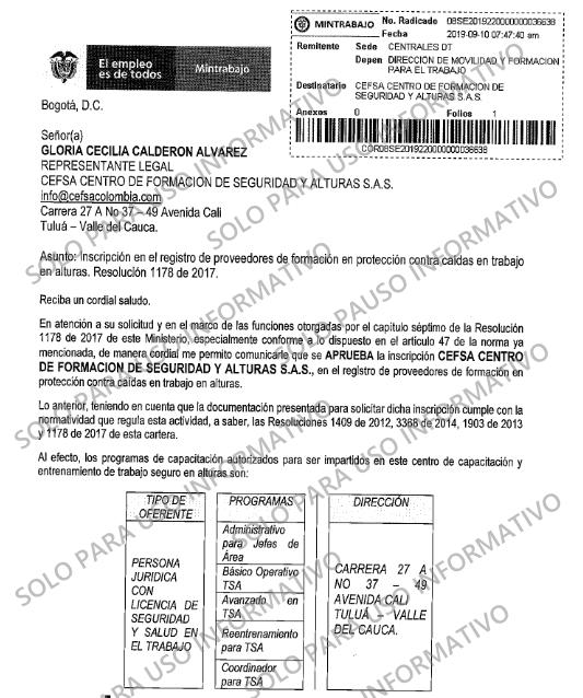 Autorización Mintrabajo CEFSA Centro de Formación de Seguridad y Alturas SAS