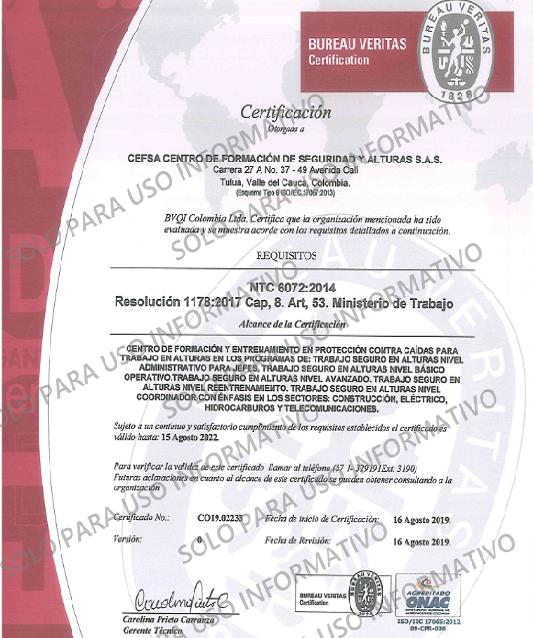 NTC 6072 - CEFSA Centro de Formación de Seguridad y Alturas SAS